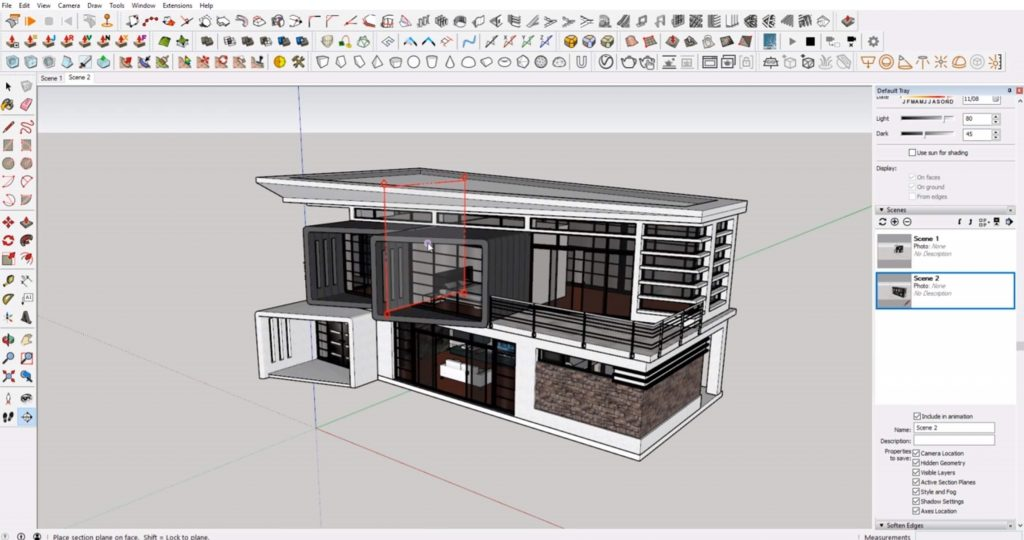cut sections in Sketchup