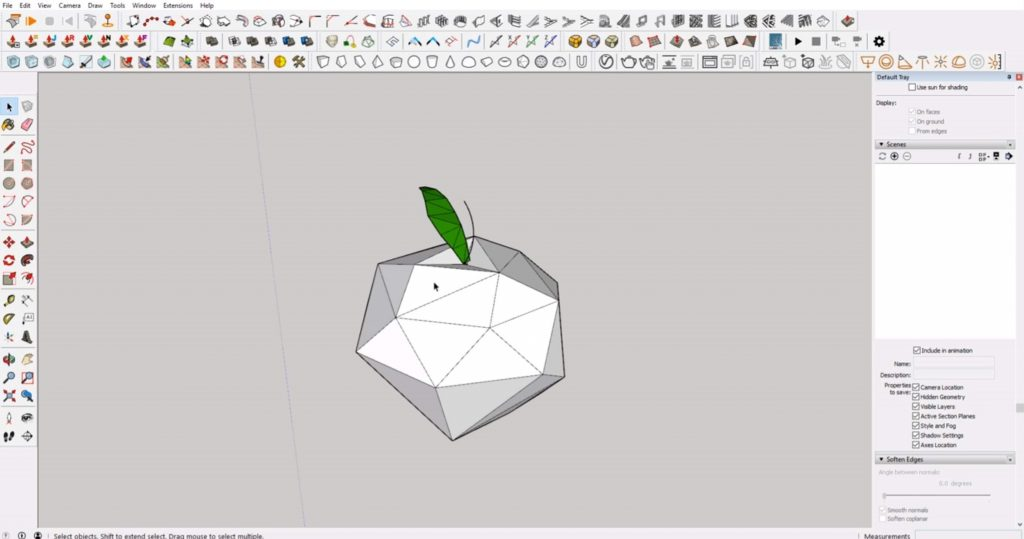 triangulated faces of low poly in Sketchup