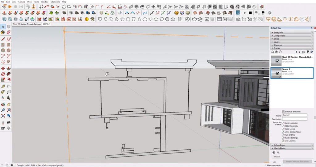 line drawing from sections in Sketchup