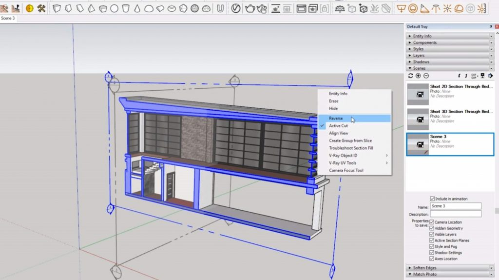 reverse sections in Sketchup